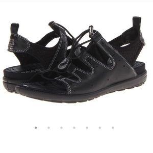 Ecco Jab Toggle Black Leather Sandals